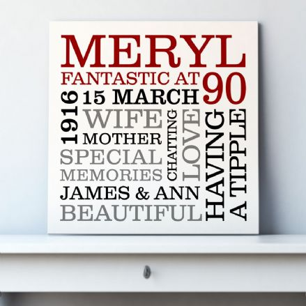 Personalised 90th Birthday Typographic Art